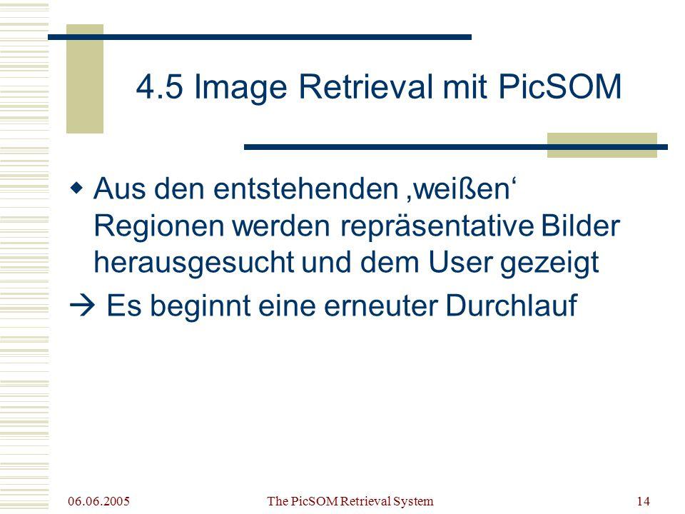 06.06.2005 The PicSOM Retrieval System14 4.5 Image Retrieval mit PicSOM  Aus den entstehenden 'weißen' Regionen werden repräsentative Bilder herausgesucht und dem User gezeigt  Es beginnt eine erneuter Durchlauf