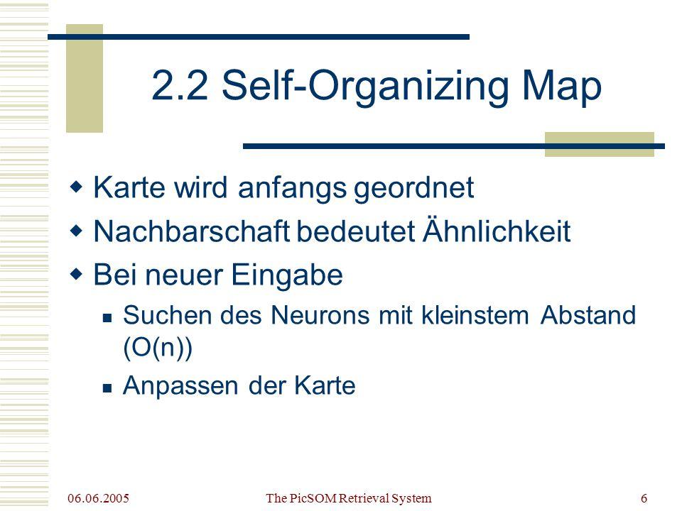 06.06.2005 The PicSOM Retrieval System6 2.2 Self-Organizing Map  Karte wird anfangs geordnet  Nachbarschaft bedeutet Ähnlichkeit  Bei neuer Eingabe Suchen des Neurons mit kleinstem Abstand (O(n)) Anpassen der Karte
