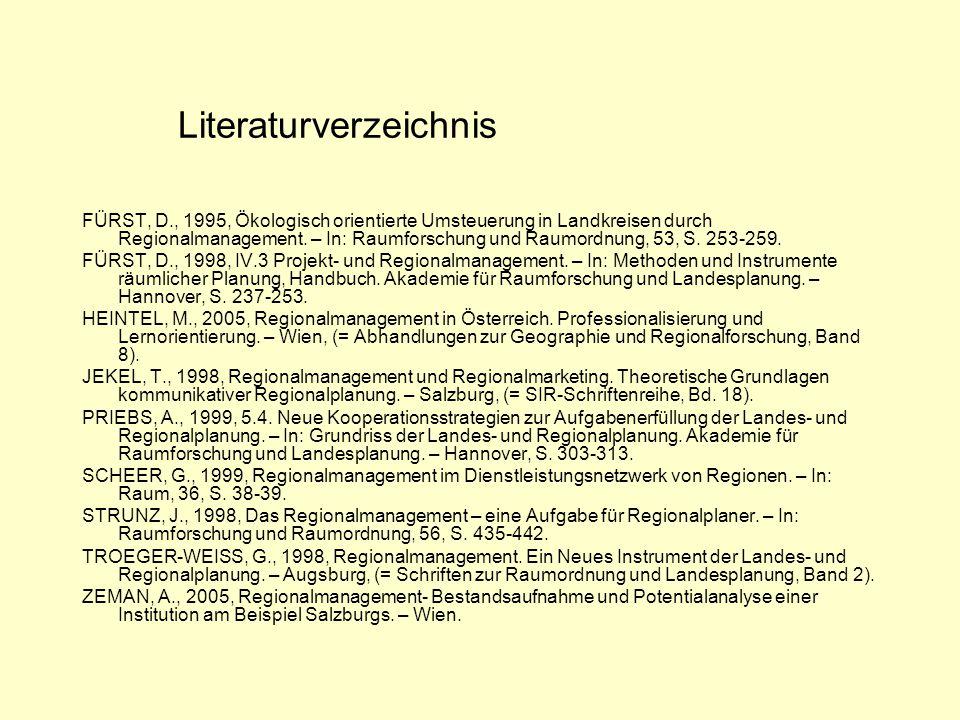 Literaturverzeichnis FÜRST, D., 1995, Ökologisch orientierte Umsteuerung in Landkreisen durch Regionalmanagement.