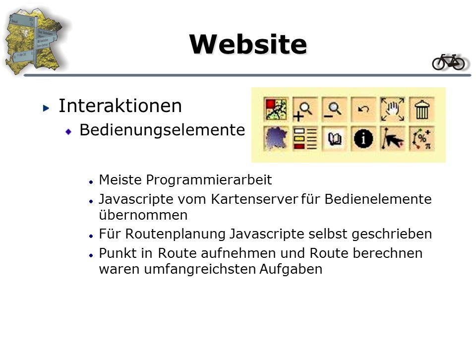 Website Interaktionen Ein- und Ausschalten von Ebenen (Layern) Topics enthält vier Hauptthemenbereiche, denen die Layern zugeordnet sind Klick auf Thema aktiviert Fenster mit Layern Layer kann ausgewählt werden Klick auf ein Layer aktiviert eine Liste mit allen in dem Layer enthaltenden Punkte, sowie der Möglichkeit des Ein- und Ausschalten Hinter Ein und Aus liegt ein Javascript