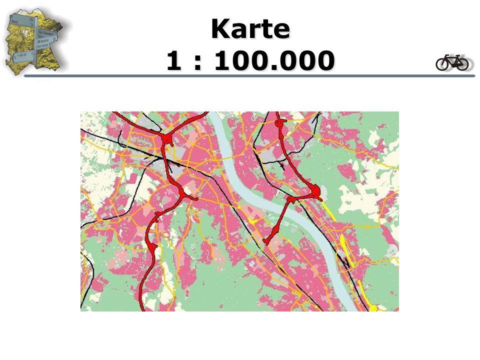 Karte Gestaltung der Karte Farbliche Gestaltung Farbliche Anpassung an die Rasterkarte keine großen Variationsmöglichkeiten Gestaltung der Linien Maßstab abhängige Breite Linienbreiten experimentell ermittelt Gestaltung von Signaturen Zwei Zoomstufen: 16X16 Pixel zwischen 1:10000- 1:25000; 30X30 Pixel ab 1:10000 Signaturen sollten sich eindeutig von der Karte abheben