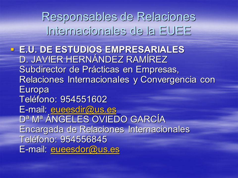 Responsables de Relaciones Internacionales de la EUEE  E.U.