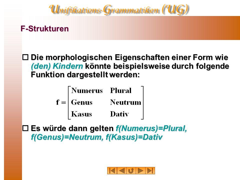 F-Strukturen  Die morphologischen Eigenschaften einer Form wie (den) Kindern könnte beispielsweise durch folgende Funktion dargestellt werden:  Es würde dann gelten f(Numerus)=Plural, f(Genus)=Neutrum, f(Kasus)=Dativ