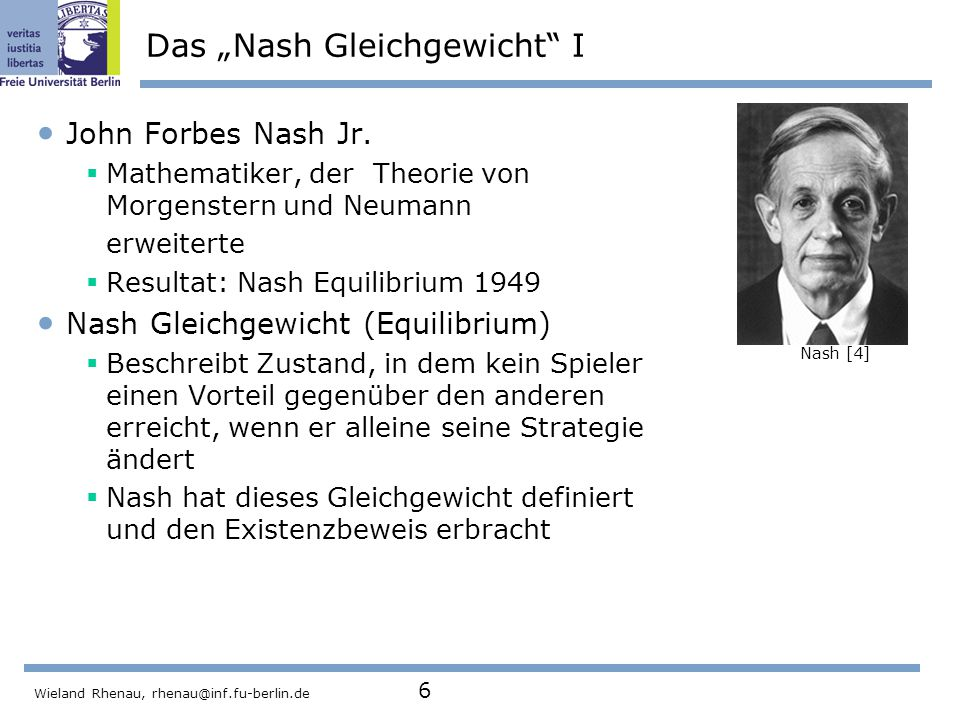 """Wieland Rhenau, rhenau@inf.fu-berlin.de 6 Das """"Nash Gleichgewicht I John Forbes Nash Jr."""