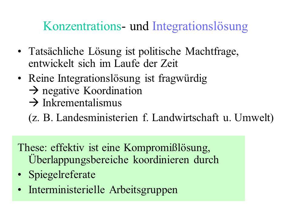 Konzentrations- und Integrationslösung Tatsächliche Lösung ist politische Machtfrage, entwickelt sich im Laufe der Zeit Reine Integrationslösung ist f