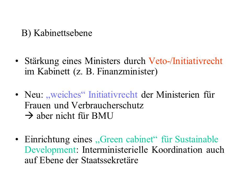 """B) Kabinettsebene Stärkung eines Ministers durch Veto-/Initiativrecht im Kabinett (z. B. Finanzminister) Neu: """"weiches"""" Initiativrecht der Ministerien"""