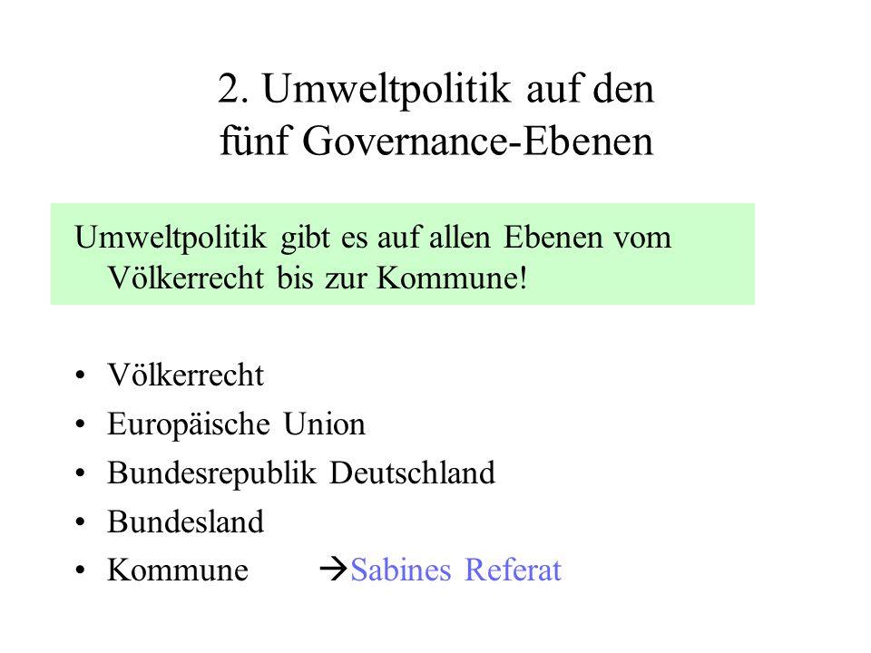 2. Umweltpolitik auf den fünf Governance-Ebenen Umweltpolitik gibt es auf allen Ebenen vom Völkerrecht bis zur Kommune! Völkerrecht Europäische Union