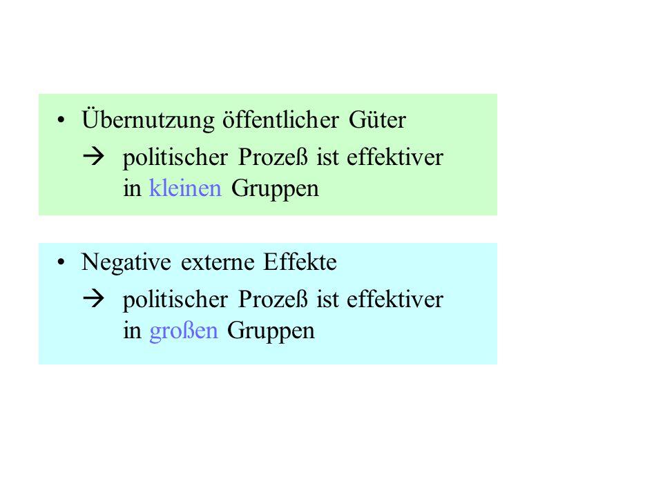 Übernutzung öffentlicher Güter  politischer Prozeß ist effektiver in kleinen Gruppen Negative externe Effekte  politischer Prozeß ist effektiver in
