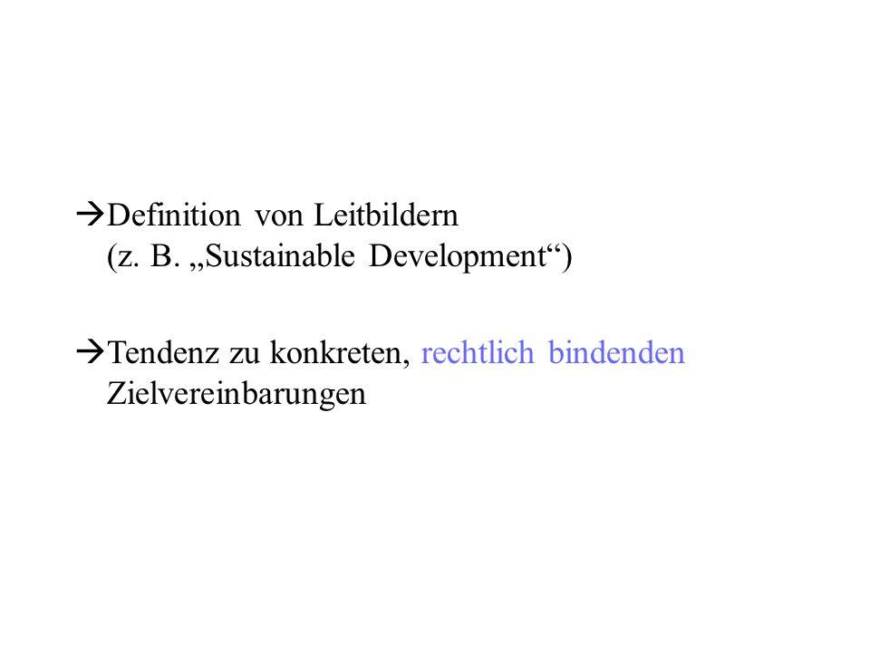 """ Definition von Leitbildern (z. B. """"Sustainable Development"""")  Tendenz zu konkreten, rechtlich bindenden Zielvereinbarungen"""
