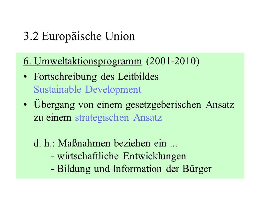 6. Umweltaktionsprogramm (2001-2010) Fortschreibung des Leitbildes Sustainable Development Übergang von einem gesetzgeberischen Ansatz zu einem strate