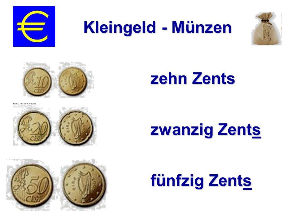 zehn Zents zwanzig Zents fünfzig Zents Kleingeld - Münzen