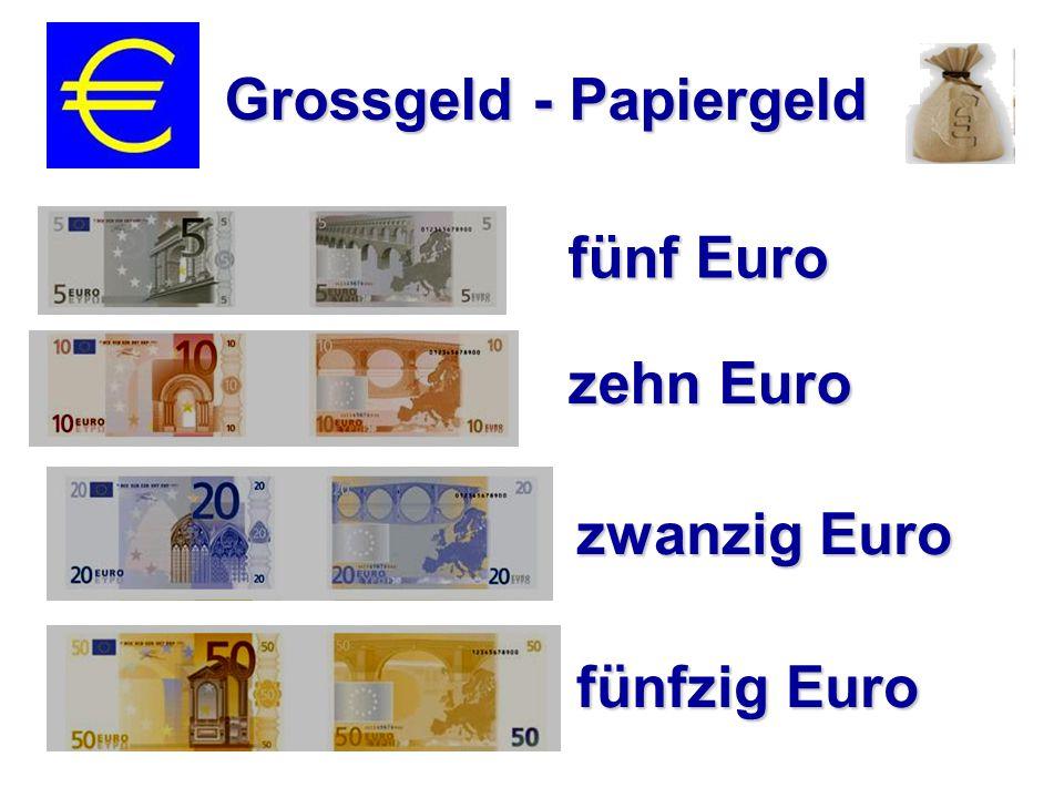 fünf Euro zehn Euro Grossgeld - Papiergeld zwanzig Euro fünfzig Euro