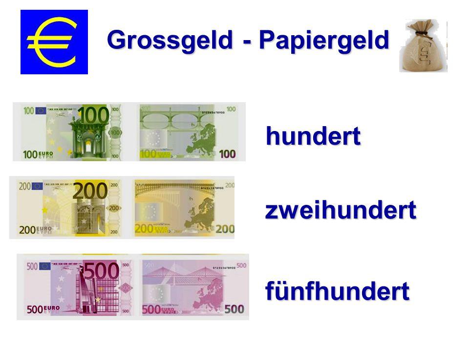 zweiundsechtzig Zents ein Euro vierundfünfzig Zents drei Euro und acht Zents 0,62 € 1,54 € 3,08 €
