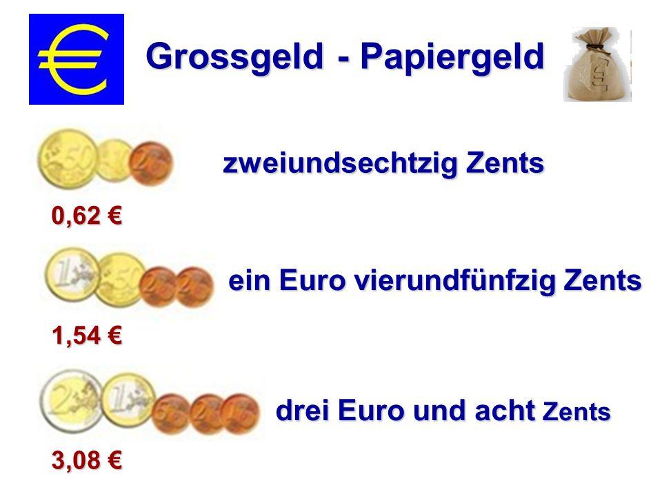 sechs Euro fünfzehn Grossgeld - Papiergeld dreisig Euro neunundsiebzig fünfzehn Euro achtunddreisig 15,83 € 30,79 € 6,15 €