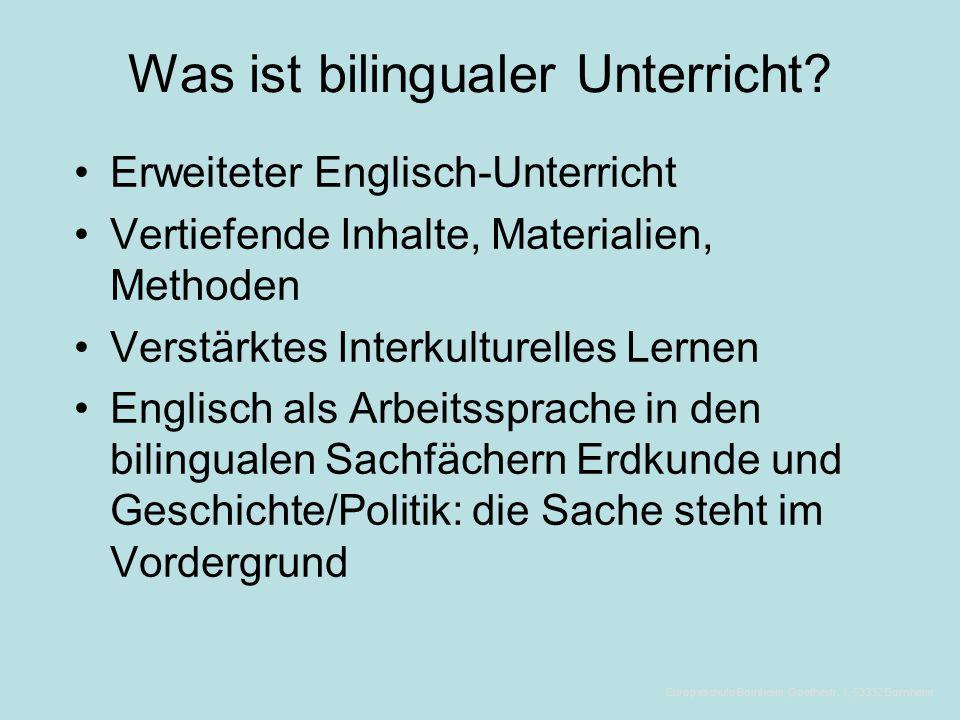 Themen  Was ist bilingualer Unterricht.  Was nützt bilingualer Unterricht.