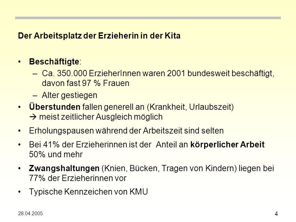 28.04.2005 5 Belastungen Neutraler Begriff: Einwirkung durch Arbeit Zusammenstellung aus vergangenen Studien