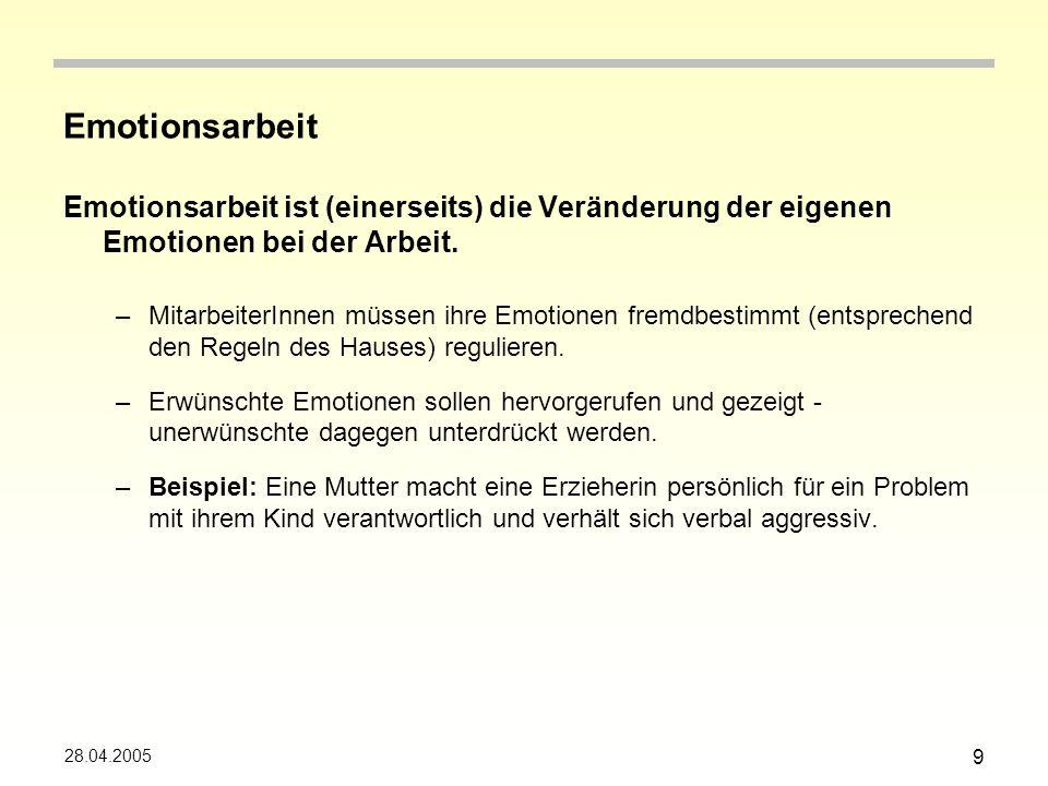 28.04.2005 10 Emotionsarbeit Emotionsarbeit ist (andererseits) die Beachtung und Veränderung emotionaler Befindlichkeiten von Kunden (Schülern, Eltern…) –Auch die Emotionen der Kunden werden zum Gegenstand, der von den MitarbeiterInnen zu beeinflussen ist.