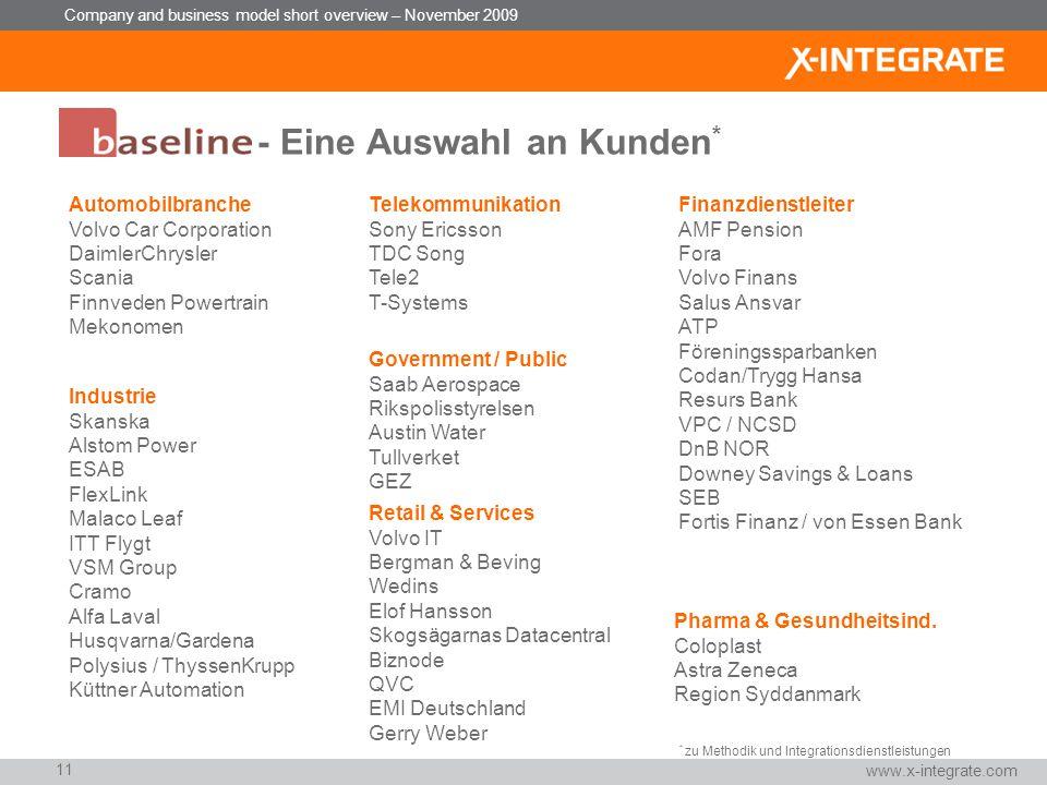 Company and business model short overview – November 2009 Unser Weg zum erfolgreichen Aufbau einer Integrationsplattform – zum Festpreis Version 3.3