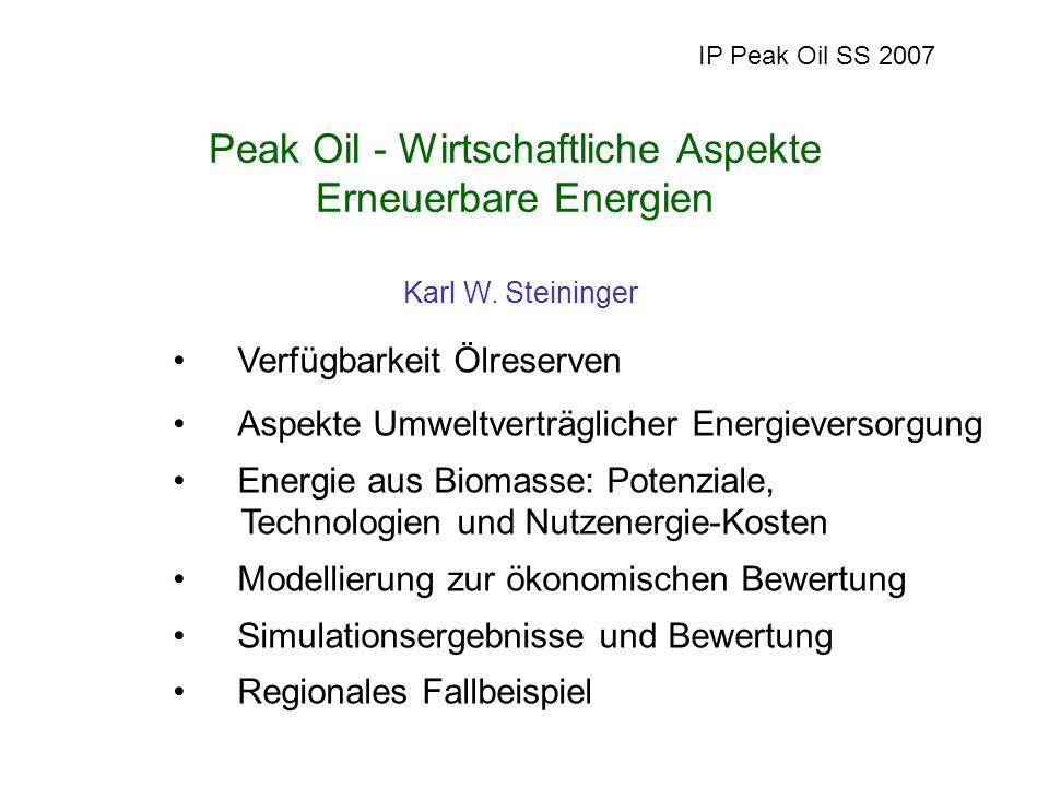 Verfügbarkeit Ölreserven Aspekte Umweltverträglicher Energieversorgung Energie aus Biomasse: Potenziale, Technologien und Nutzenergie-Kosten Modellierung zur ökonomischen Bewertung Simulationsergebnisse und Bewertung Regionales Fallbeispiel IP Peak Oil SS 2007 Karl W.