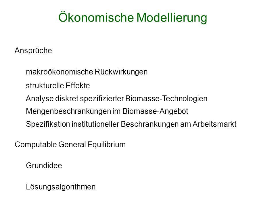 Ansprüche makroökonomische Rückwirkungen strukturelle Effekte Analyse diskret spezifizierter Biomasse-Technologien Mengenbeschränkungen im Biomasse-Angebot Spezifikation institutioneller Beschränkungen am Arbeitsmarkt Computable General Equilibrium Grundidee Lösungsalgorithmen Ökonomische Modellierung