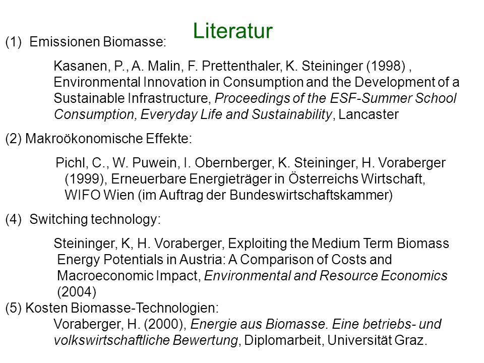 (1) Emissionen Biomasse: Kasanen, P., A. Malin, F.