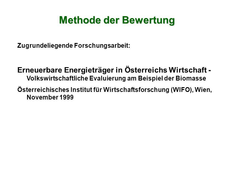 Zugrundeliegende Forschungsarbeit: Erneuerbare Energieträger in Österreichs Wirtschaft - Volkswirtschaftliche Evaluierung am Beispiel der Biomasse Österreichisches Institut für Wirtschaftsforschung (WIFO), Wien, November 1999 Methode der Bewertung