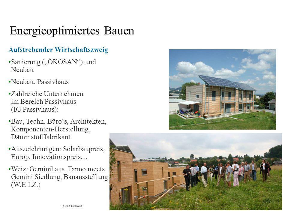 """Aufstrebender Wirtschaftszweig Sanierung (""""ÖKOSAN ) und Neubau Neubau: Passivhaus Zahlreiche Unternehmen im Bereich Passivhaus (IG Passivhaus): Bau, Techn."""
