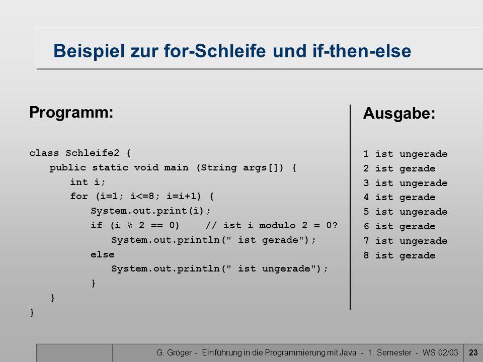 G. Gröger - Einführung in die Programmierung mit Java - 1. Semester - WS 02/0323 Beispiel zur for-Schleife und if-then-else Programm: class Schleife2