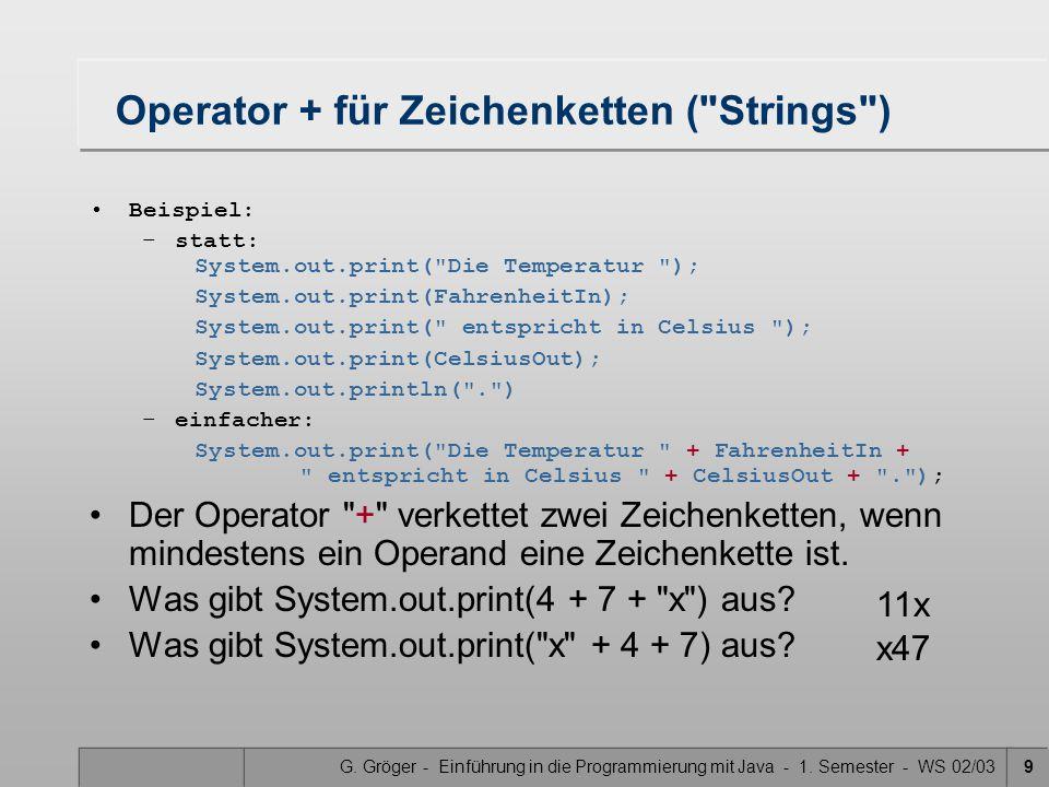 G. Gröger - Einführung in die Programmierung mit Java - 1. Semester - WS 02/039 Operator + für Zeichenketten (