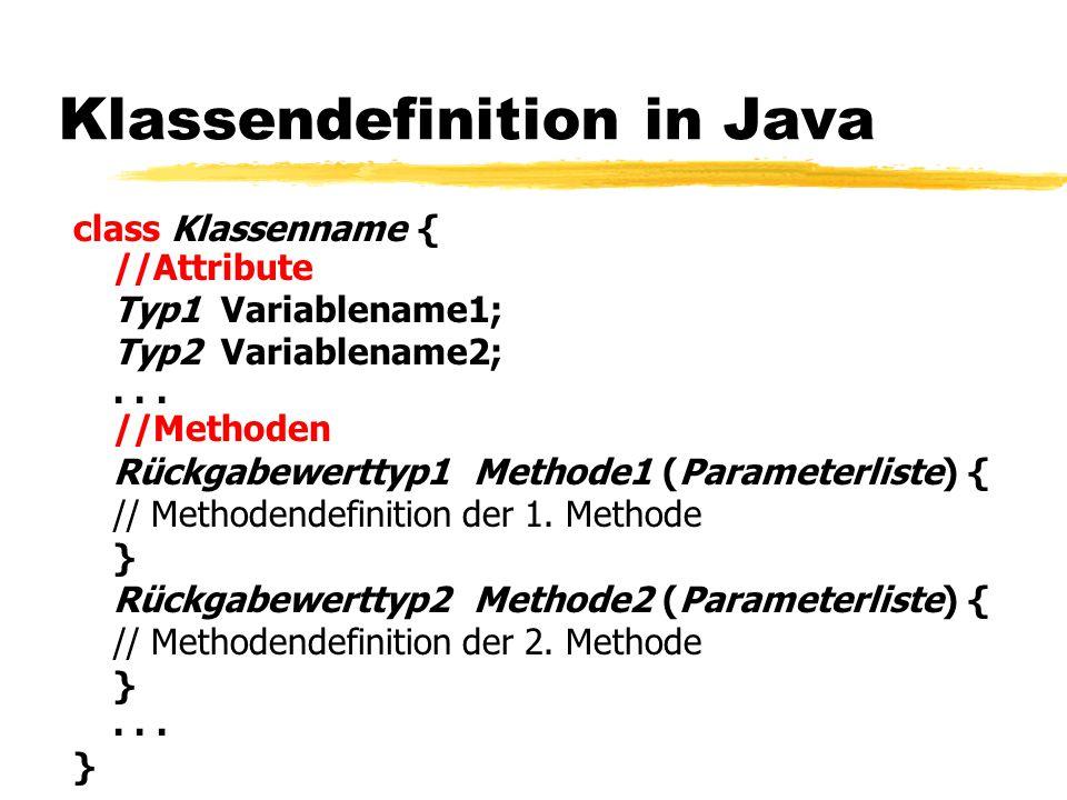 Klassendefinition in Java class Klassenname { //Attribute Typ1 Variablename1; Typ2 Variablename2;... //Methoden Rückgabewerttyp1 Methode1 (Parameterli