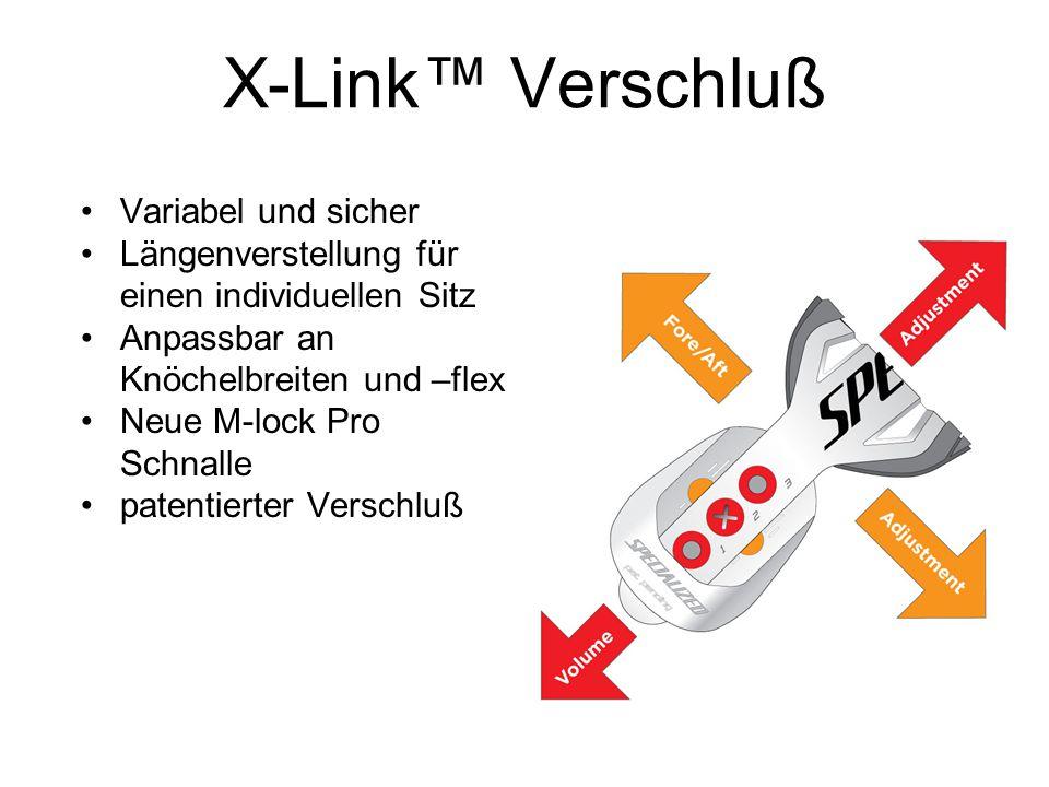 X-Link™ Verschluß Variabel und sicher Längenverstellung für einen individuellen Sitz Anpassbar an Knöchelbreiten und –flex Neue M-lock Pro Schnalle pa