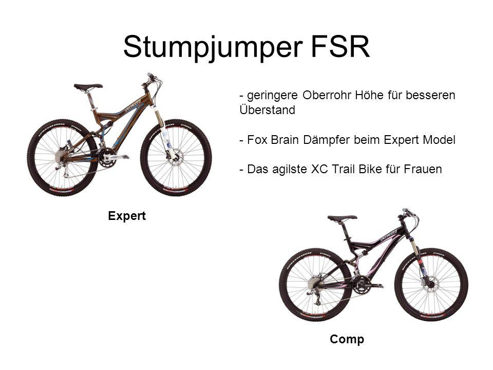 Stumpjumper FSR Expert Comp - geringere Oberrohr Höhe für besseren Überstand - Fox Brain Dämpfer beim Expert Model - Das agilste XC Trail Bike für Frauen