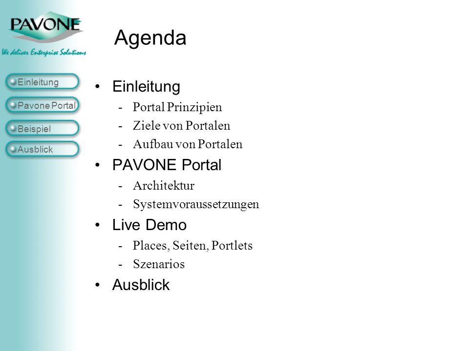 Single Point of Access Einleitung Pavone Portal Beispiel Ausblick Das Portal ist der Single point of access oder One Stop für Benutzer/Mitarbeiter, um personalisiert auf Applikationen, Inhalte und Prozesse zuzugreifen, sowie mit anderen Benutzern zu interagieren © IBM Vereinfachtes Benutzererlebnis Sicher Rollenbasiert Zukünftiger Desktop e-Arbeitsplatz Applikationsintegration