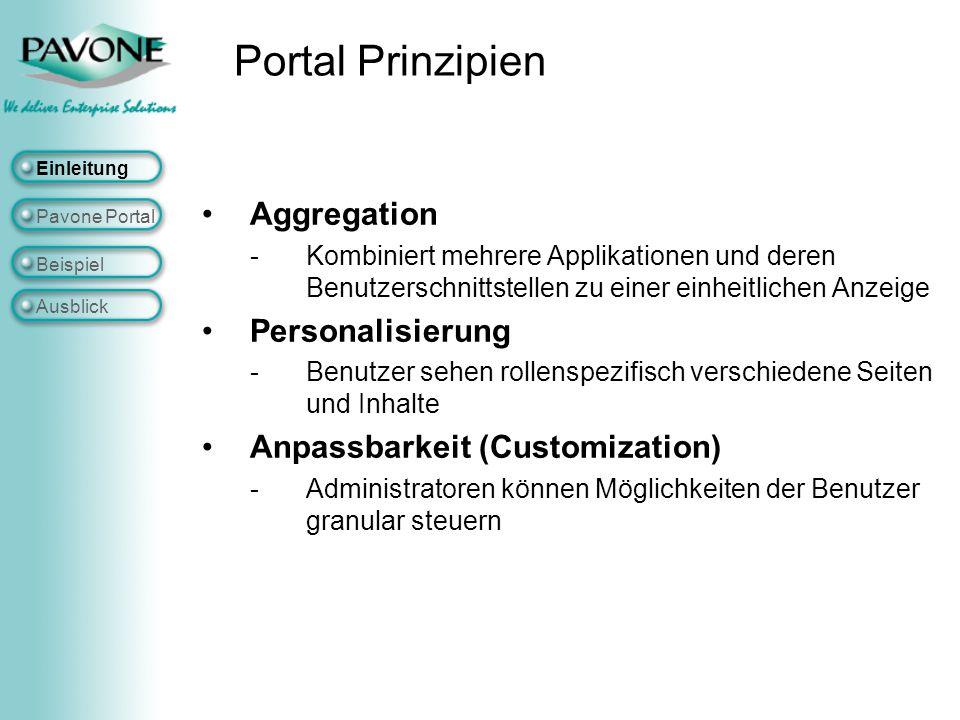 """Single Sign On Zentrale Zuordnung (Push Prinzip) von Inhalten zu Benutzergruppen """"Virtuelle Portale Mehrsprachigkeit Portlet API um weitere Portlets entwickeln zu können Einleitung Pavone Portal Beispiel Ausblick Weitere Eigenschaften"""