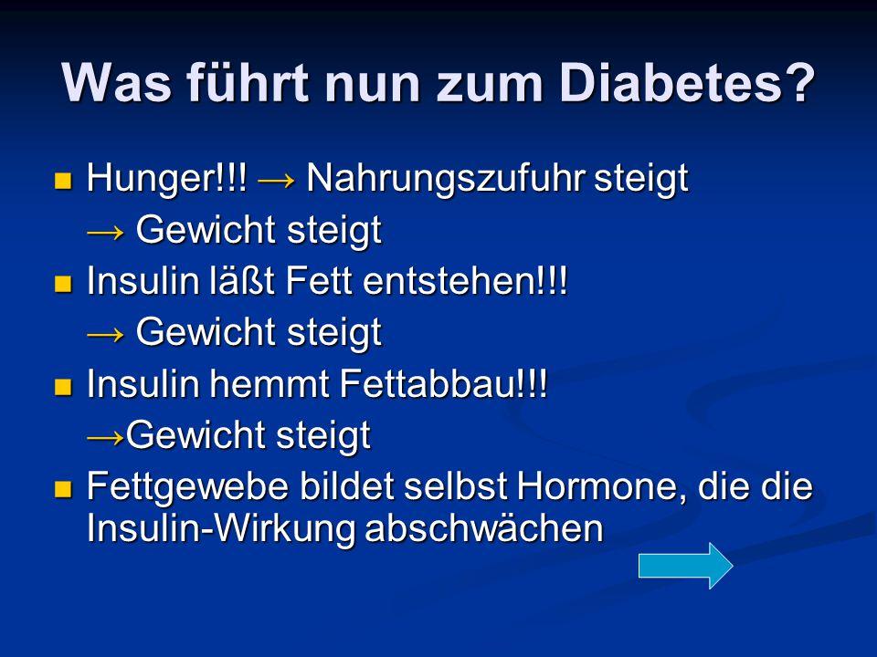 Was führt nun zum Diabetes? Hunger!!! → Nahrungszufuhr steigt Hunger!!! → Nahrungszufuhr steigt → Gewicht steigt Insulin läßt Fett entstehen!!! Insuli