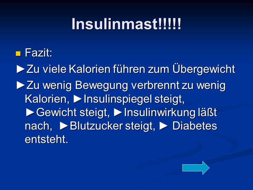 Insulinmast!!!!! Fazit: Fazit: ►Zu viele Kalorien führen zum Übergewicht ►Zu wenig Bewegung verbrennt zu wenig Kalorien, ►Insulinspiegel steigt, ►Gewi