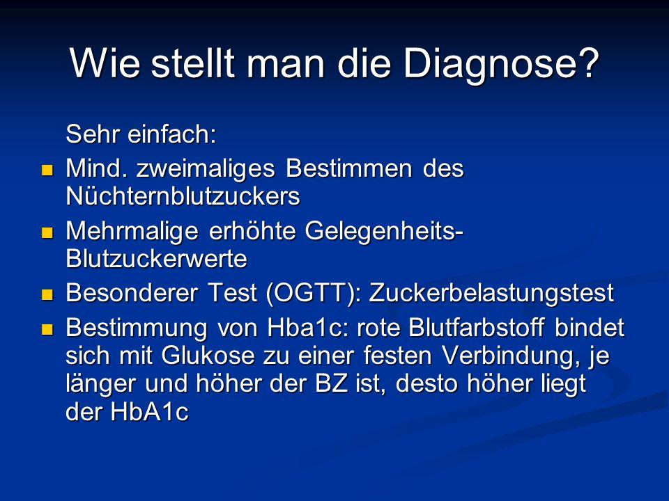 Wie stellt man die Diagnose? Sehr einfach: Mind. zweimaliges Bestimmen des Nüchternblutzuckers Mind. zweimaliges Bestimmen des Nüchternblutzuckers Meh