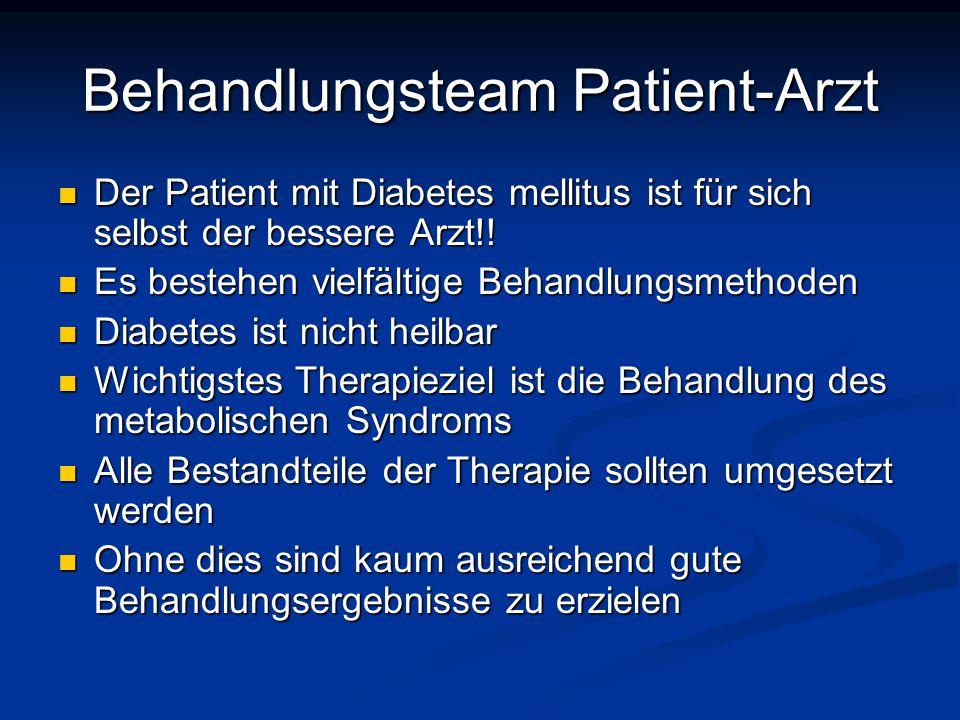 Behandlungsteam Patient-Arzt Der Patient mit Diabetes mellitus ist für sich selbst der bessere Arzt!! Der Patient mit Diabetes mellitus ist für sich s