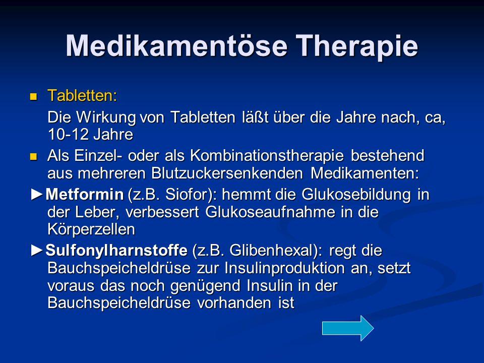 Medikamentöse Therapie Tabletten: Tabletten: Die Wirkung von Tabletten läßt über die Jahre nach, ca, 10-12 Jahre Als Einzel- oder als Kombinationsther