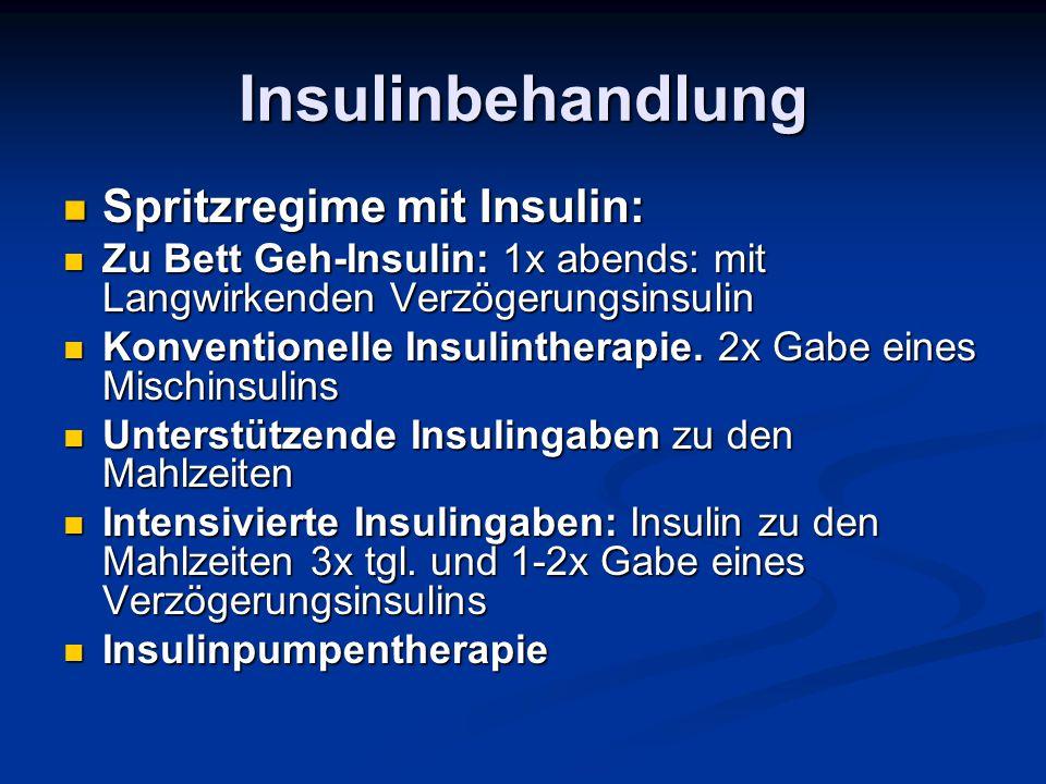 Insulinbehandlung Spritzregime mit Insulin: Spritzregime mit Insulin: Zu Bett Geh-Insulin: 1x abends: mit Langwirkenden Verzögerungsinsulin Zu Bett Ge