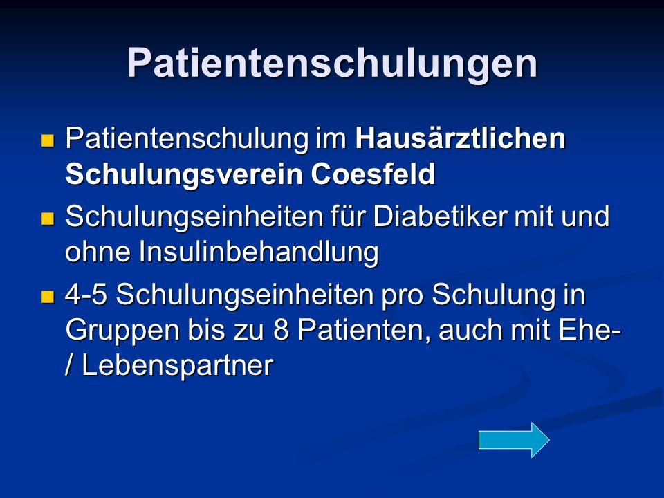 Patientenschulungen Patientenschulung im Hausärztlichen Schulungsverein Coesfeld Patientenschulung im Hausärztlichen Schulungsverein Coesfeld Schulung