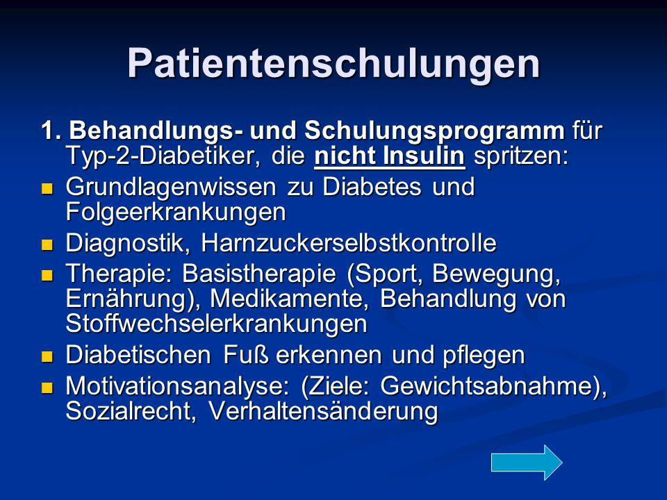 Patientenschulungen 1. Behandlungs- und Schulungsprogramm für Typ-2-Diabetiker, die nicht Insulin spritzen: Grundlagenwissen zu Diabetes und Folgeerkr