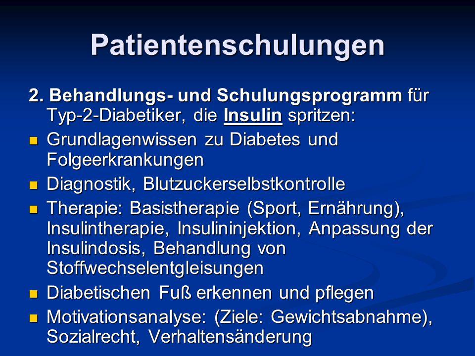 Patientenschulungen 2. Behandlungs- und Schulungsprogramm für Typ-2-Diabetiker, die Insulin spritzen: Grundlagenwissen zu Diabetes und Folgeerkrankung