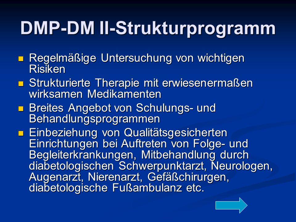 DMP-DM II-Strukturprogramm Regelmäßige Untersuchung von wichtigen Risiken Regelmäßige Untersuchung von wichtigen Risiken Strukturierte Therapie mit er