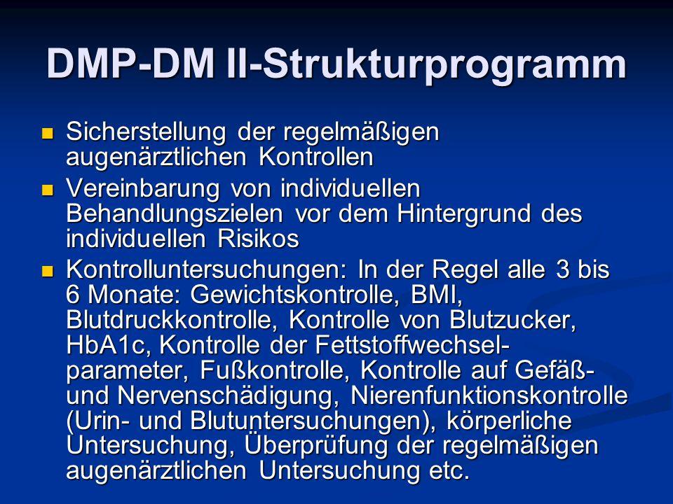 DMP-DM II-Strukturprogramm Sicherstellung der regelmäßigen augenärztlichen Kontrollen Sicherstellung der regelmäßigen augenärztlichen Kontrollen Verei