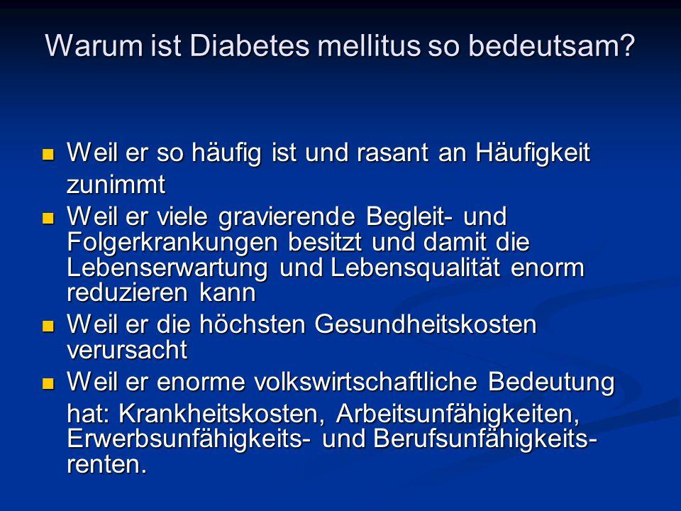 Warum ist Diabetes mellitus so bedeutsam? Weil er so häufig ist und rasant an Häufigkeit Weil er so häufig ist und rasant an Häufigkeitzunimmt Weil er