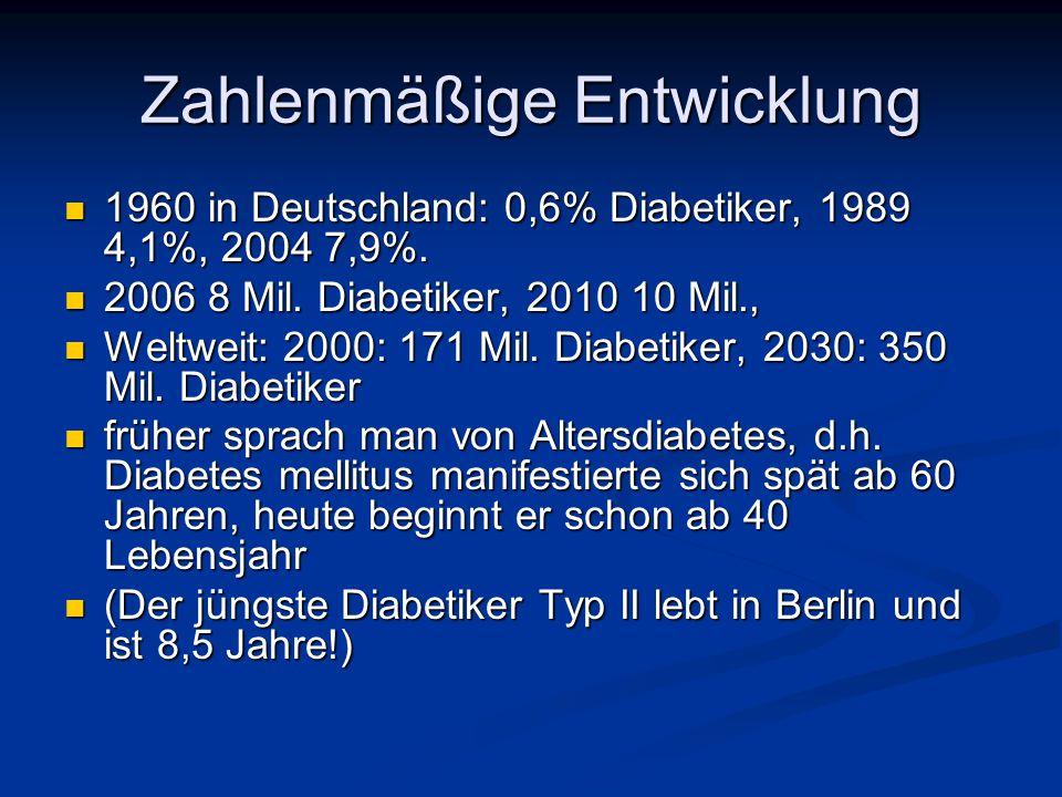 Begleit- und Folgeerkrankungen 75% der Diabetiker haben Bluthochdruck 75% der Diabetiker haben Bluthochdruck 12% der Diabetiker haben diabetische Augenhintergrund- veränderungen (häufigste Ursache für Erblindung) 12% der Diabetiker haben diabetische Augenhintergrund- veränderungen (häufigste Ursache für Erblindung) 11% haben diabetisch bedingte Nervenentzündung (Polyneuropathie) 11% haben diabetisch bedingte Nervenentzündung (Polyneuropathie) 9,1% der Diabetiker haben einen Herzinfarkt oder eine Koronare Herzerkrankung (KHK) 9,1% der Diabetiker haben einen Herzinfarkt oder eine Koronare Herzerkrankung (KHK) 7,5 % haben Durchblutungsstörungen der Beine (pAVK) 7,5 % haben Durchblutungsstörungen der Beine (pAVK) 5 % erleiden einen Schlaganfall (Apoplex ) 5 % erleiden einen Schlaganfall (Apoplex ) 4% haben eine Nierenschwäche (häufigste Ursache für die künstliche Nierenwäsche) 4% haben eine Nierenschwäche (häufigste Ursache für die künstliche Nierenwäsche) 2,5 % haben ein diabetisches Fußsyndrom (häufigste Ursache für Beinamputationen) 2,5 % haben ein diabetisches Fußsyndrom (häufigste Ursache für Beinamputationen) Lebenserwartung generell um 10 Jahre verkürzt.