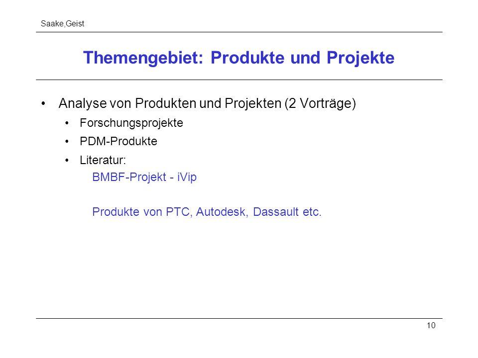 Saake,Geist 10 Themengebiet: Produkte und Projekte Analyse von Produkten und Projekten (2 Vorträge) Forschungsprojekte PDM-Produkte Literatur: BMBF-Pr