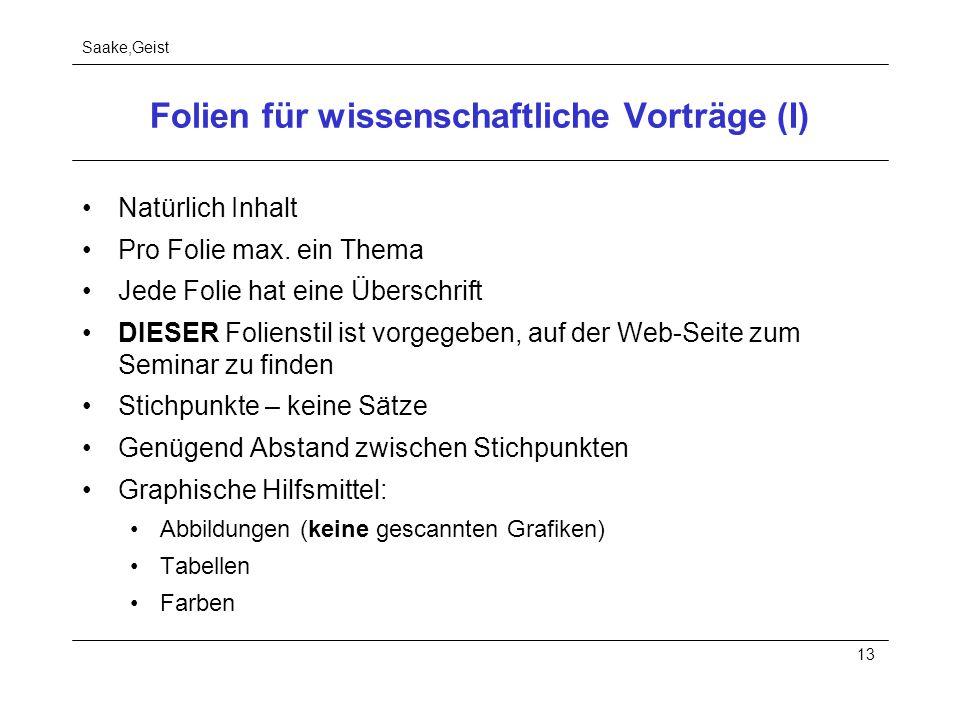 Saake,Geist 13 Folien für wissenschaftliche Vorträge (I) Natürlich Inhalt Pro Folie max. ein Thema Jede Folie hat eine Überschrift DIESER Folienstil i