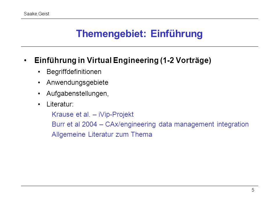 Saake,Geist 5 Themengebiet: Einführung Einführung in Virtual Engineering (1-2 Vorträge) Begriffdefinitionen Anwendungsgebiete Aufgabenstellungen, Lite